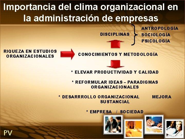 Importancia del clima organizacional en la administración de empresas ANTROPOLOGÍA DISCIPLINAS SOCIOLOGÍA PSICOLOGÍA RIQUEZA
