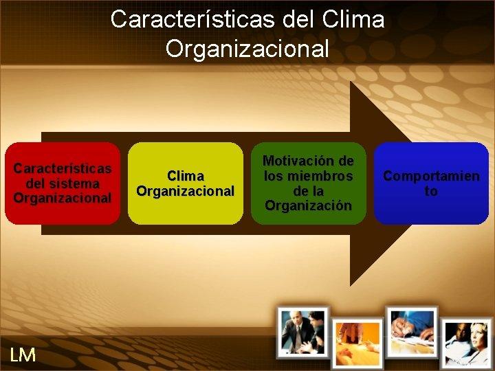 Características del Clima Organizacional Características del sistema Organizacional LM Clima Organizacional Motivación de los