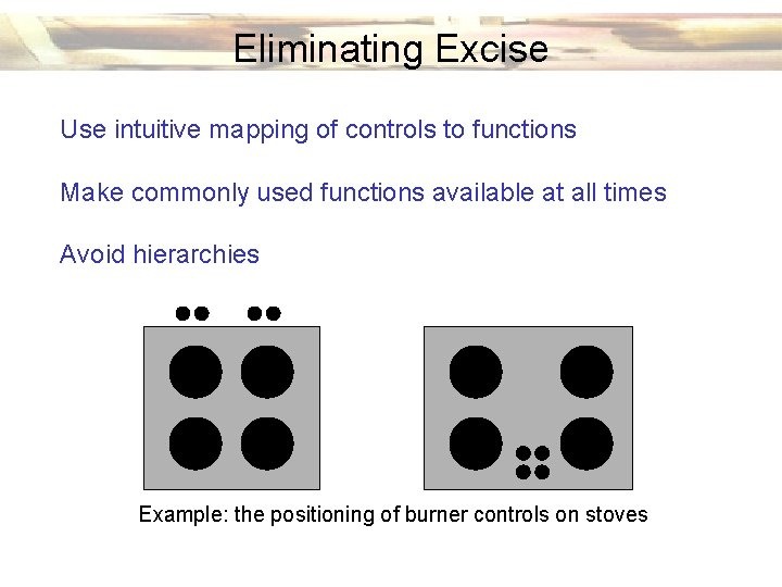 Eliminating Excise Use intuitive mapping of controls to functions Make commonly used functions available