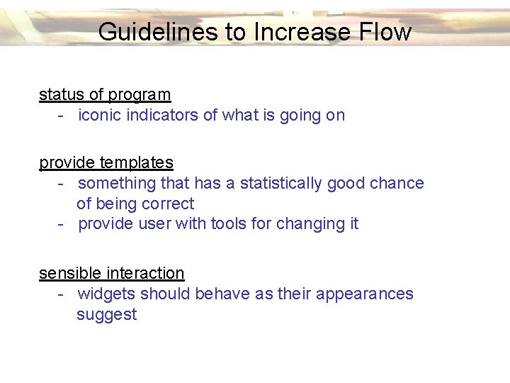 Guidelines to Increase Flow status of program - iconic indicators of what is going