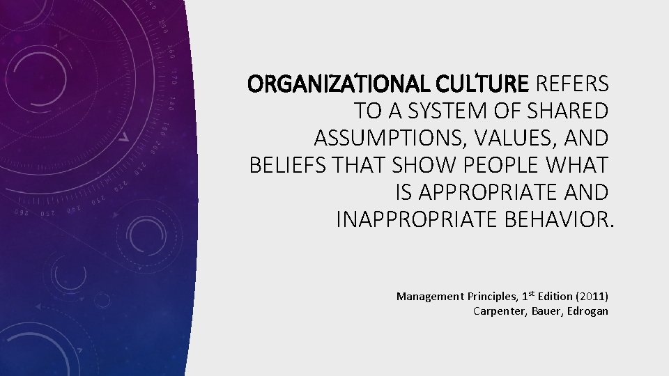 ORGANIZATIONAL CULTURE REFERS TO A SYSTEM OF SHARED ASSUMPTIONS, VALUES, AND BELIEFS THAT SHOW