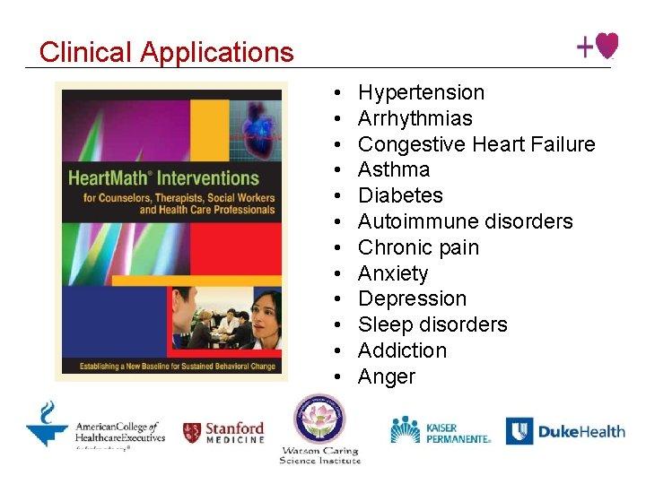 Clinical Applications • • • Institute © 2016 Heart. Math Institute Hypertension Arrhythmias Congestive