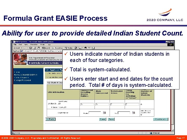 Formula Grant EASIE Process Ability for user to provide detailed Indian Student Count. ü