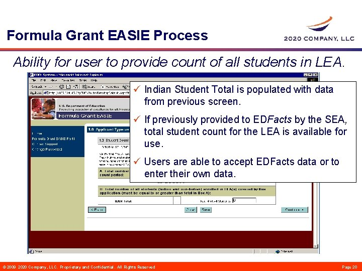 Formula Grant EASIE Process Ability for user to provide count of all students in