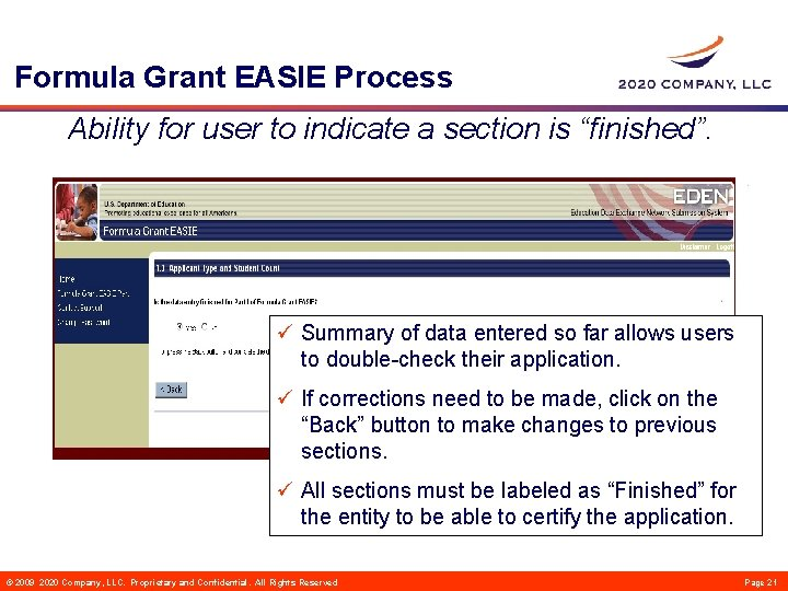 """Formula Grant EASIE Process Ability for user to indicate a section is """"finished"""". ü"""