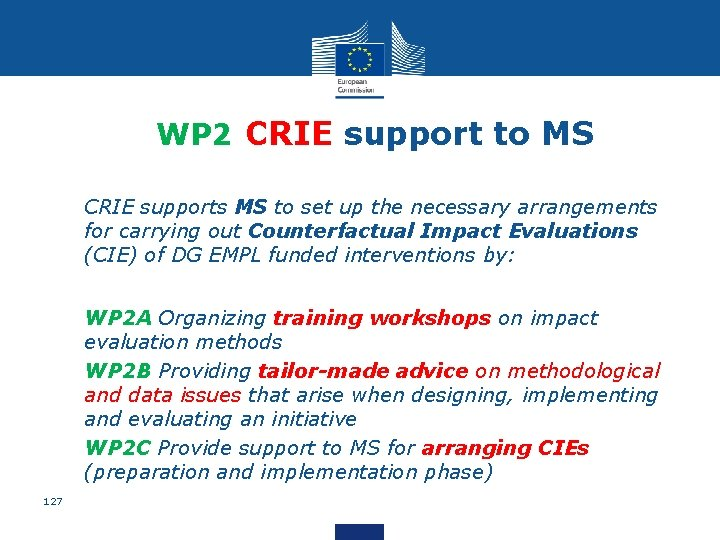 WP 2 CRIE support to MS • CRIE supports MS to set up the