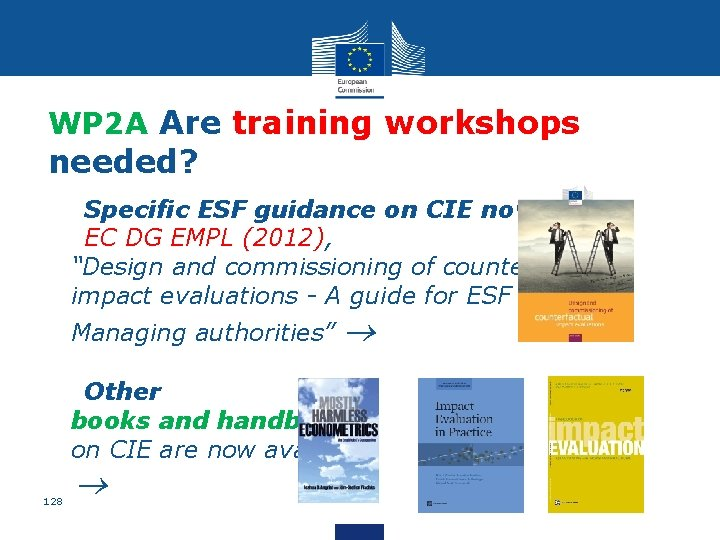 WP 2 A Are training workshops needed? • Specific ESF guidance on CIE now