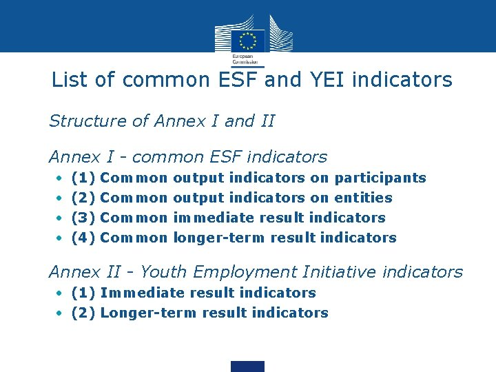 List of common ESF and YEI indicators • Structure of Annex I and II