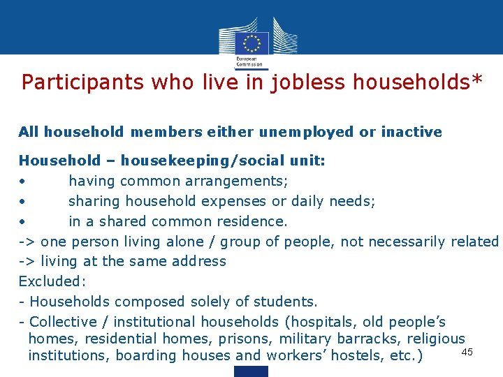 Participants who live in jobless households* All household members either unemployed or inactive Household
