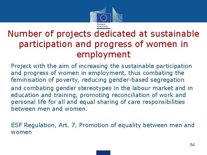 Number of projects dedicated at sustainable participation and progress of women in employment Project