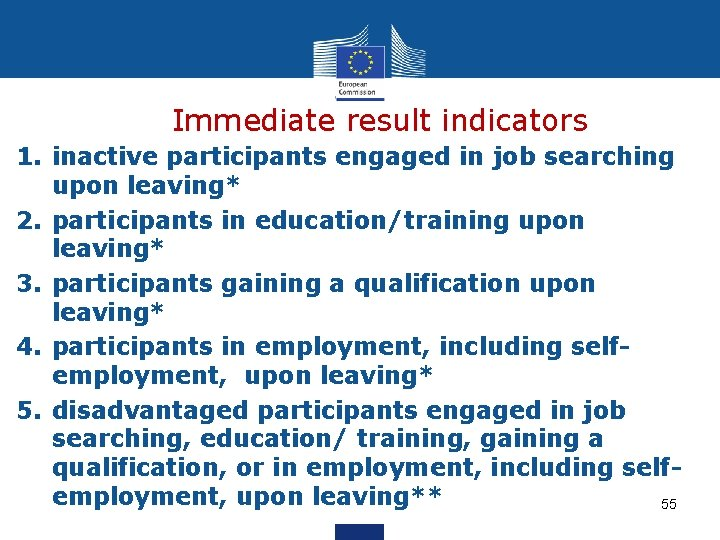 Immediate result indicators 1. inactive participants engaged in job searching upon leaving* 2. participants