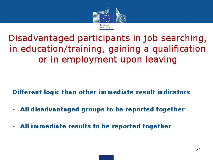 Disadvantaged participants in job searching, in education/training, gaining a qualification or in employment upon