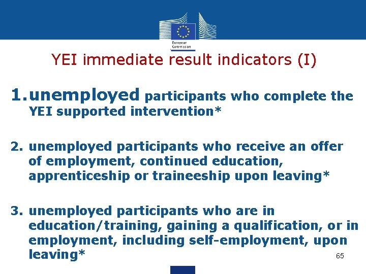 YEI immediate result indicators (I) 1. unemployed participants who complete the YEI supported intervention*