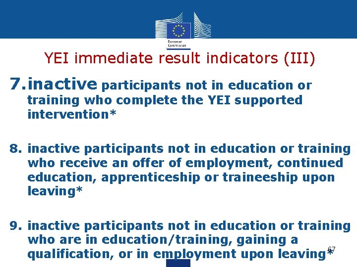 YEI immediate result indicators (III) 7. inactive participants not in education or training who