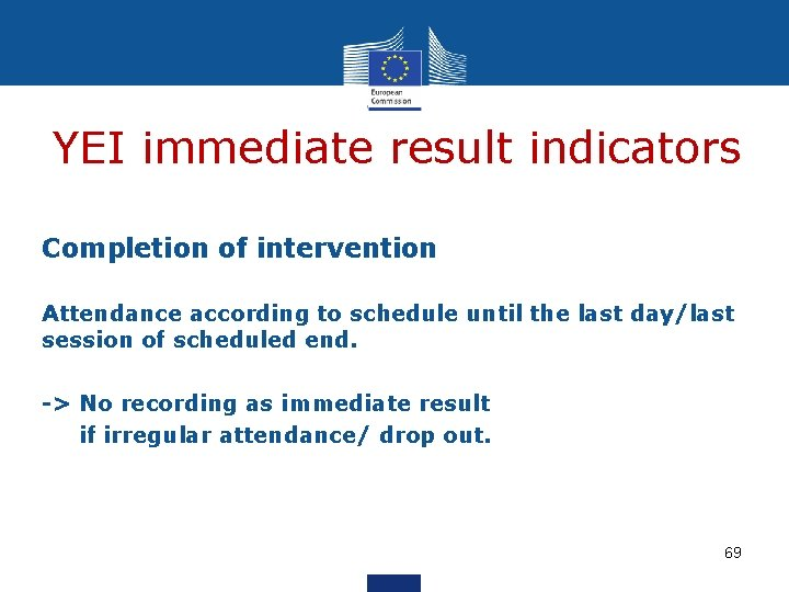 YEI immediate result indicators Completion of intervention Attendance according to schedule until the last