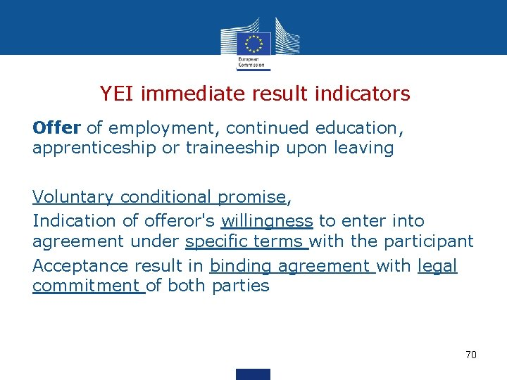 YEI immediate result indicators Offer of employment, continued education, apprenticeship or traineeship upon leaving