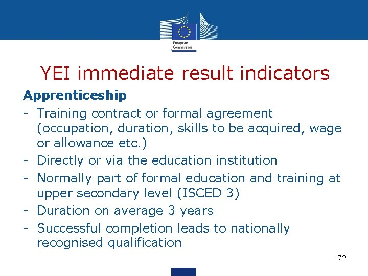 YEI immediate result indicators Apprenticeship - Training contract or formal agreement (occupation, duration, skills