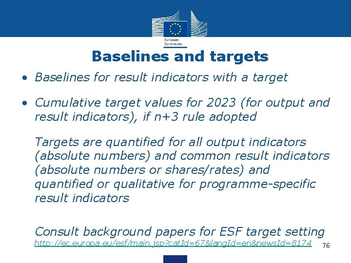 Baselines and targets • Baselines for result indicators with a target • Cumulative target