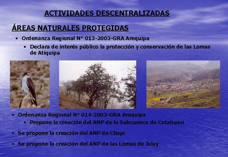 ACTIVIDADES DESCENTRALIZADAS ÁREAS NATURALES PROTEGIDAS • Ordenanza Regional N° 013 -2003 -GRA Arequipa •