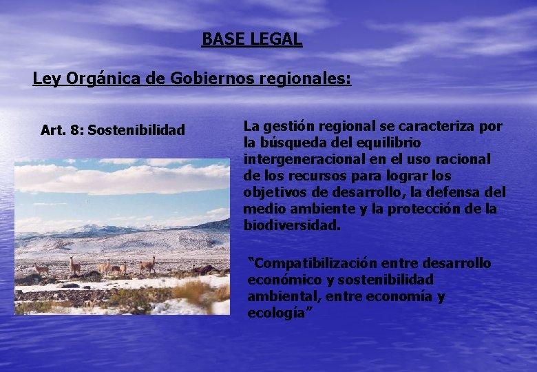 BASE LEGAL Ley Orgánica de Gobiernos regionales: Art. 8: Sostenibilidad La gestión regional se
