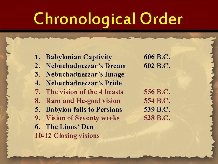 Chronological Order 1. Babylonian Captivity 2. Nebuchadnezzar's Dream 3. Nebuchadnezzar's Image 4. Nebuchadnezzar's Pride