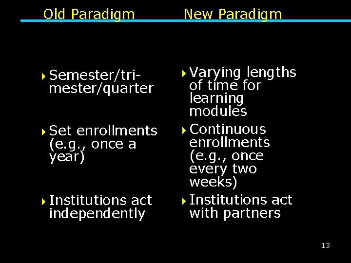 Old Paradigm 4 Semester/tri- mester/quarter 4 Set enrollments (e. g. , once a year)
