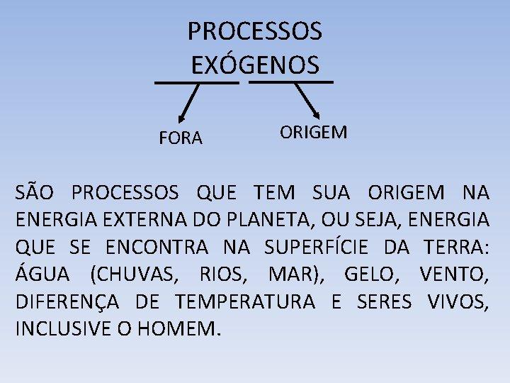 PROCESSOS EXÓGENOS FORA ORIGEM SÃO PROCESSOS QUE TEM SUA ORIGEM NA ENERGIA EXTERNA DO