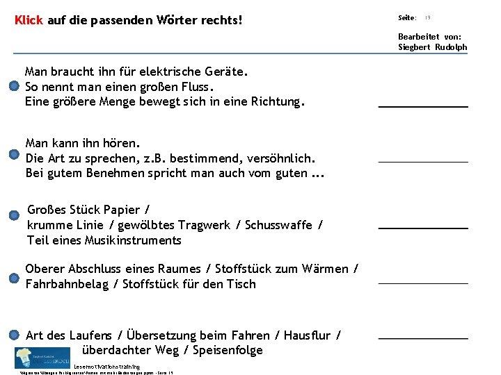 Übungsart: Klick auf die passenden Wörter rechts! Seite: 19 Bearbeitet von: Siegbert Rudolph Man