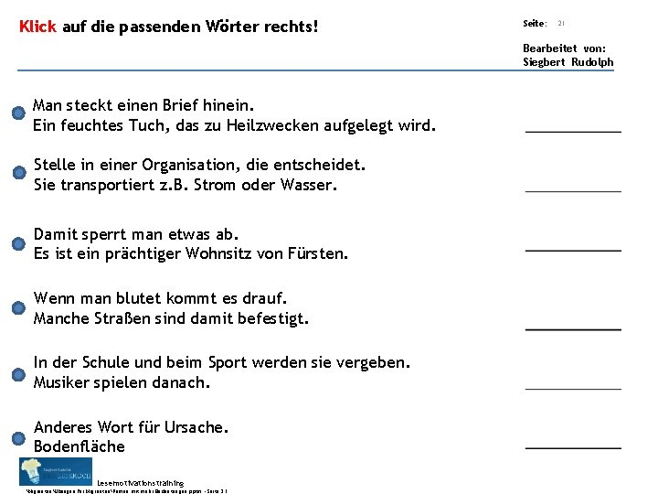 Übungsart: Klick auf die passenden Wörter rechts! Seite: 21 Bearbeitet von: Siegbert Rudolph Man