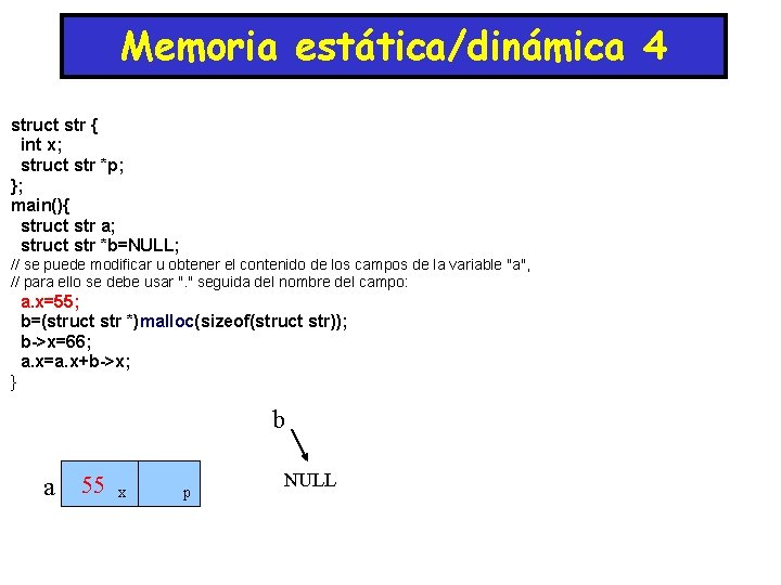 Memoria estática/dinámica 4 struct str { int x; struct str *p; }; main(){ struct