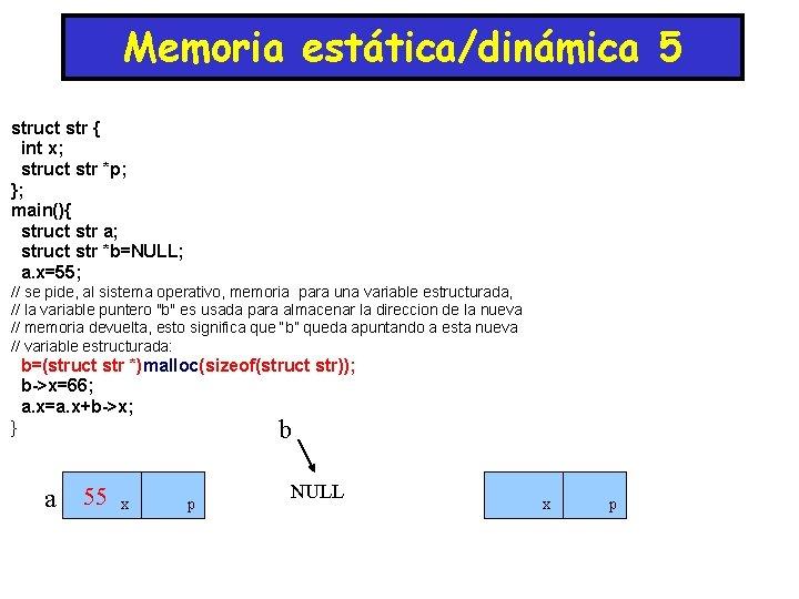 Memoria estática/dinámica 5 struct str { int x; struct str *p; }; main(){ struct