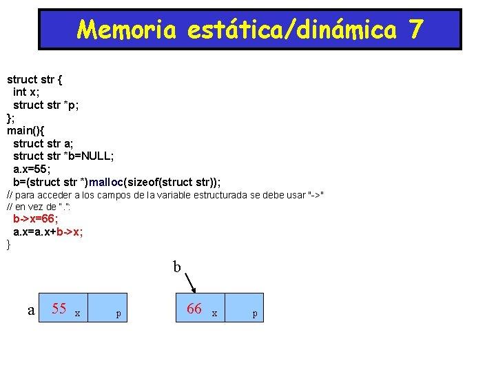 Memoria estática/dinámica 7 struct str { int x; struct str *p; }; main(){ struct