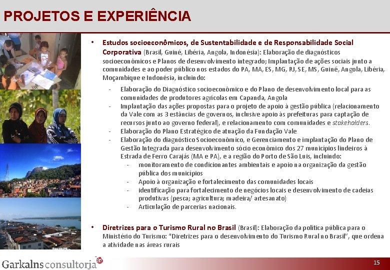 PROJETOS E EXPERIÊNCIA • Estudos socioeconômicos, de Sustentabilidade e de Responsabilidade Social Corporativa (Brasil,