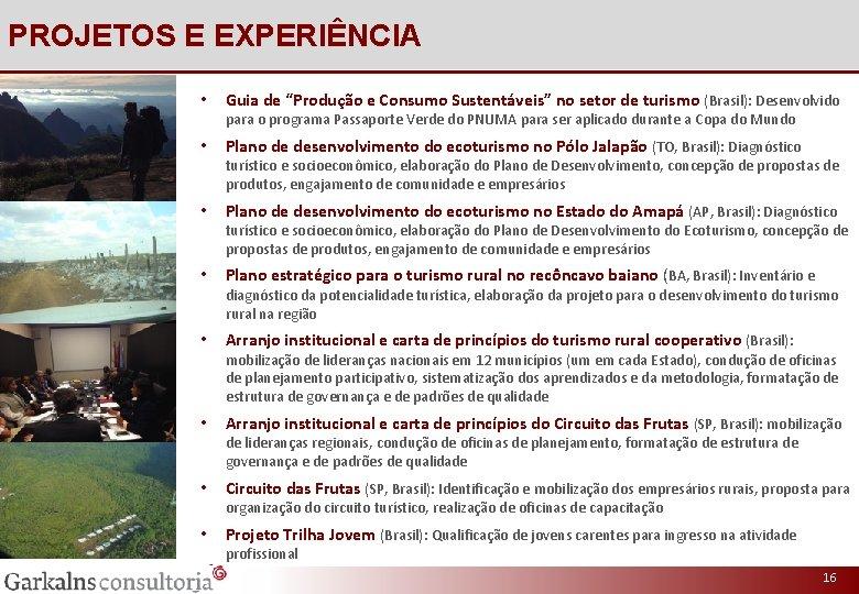 """PROJETOS E EXPERIÊNCIA • Guia de """"Produção e Consumo Sustentáveis"""" no setor de turismo"""