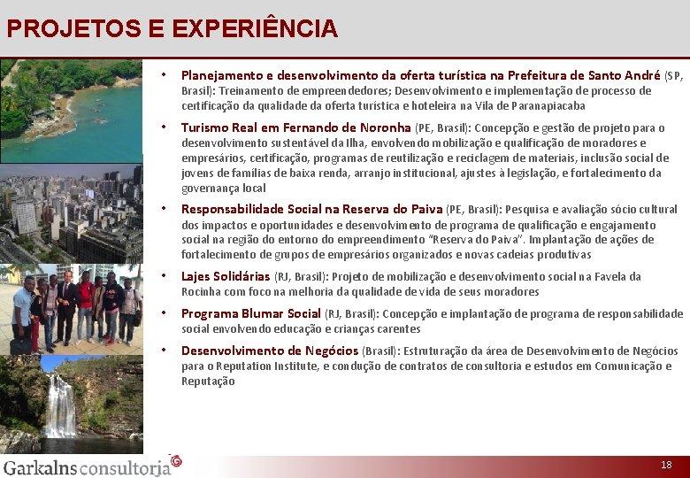 PROJETOS E EXPERIÊNCIA • Planejamento e desenvolvimento da oferta turística na Prefeitura de Santo