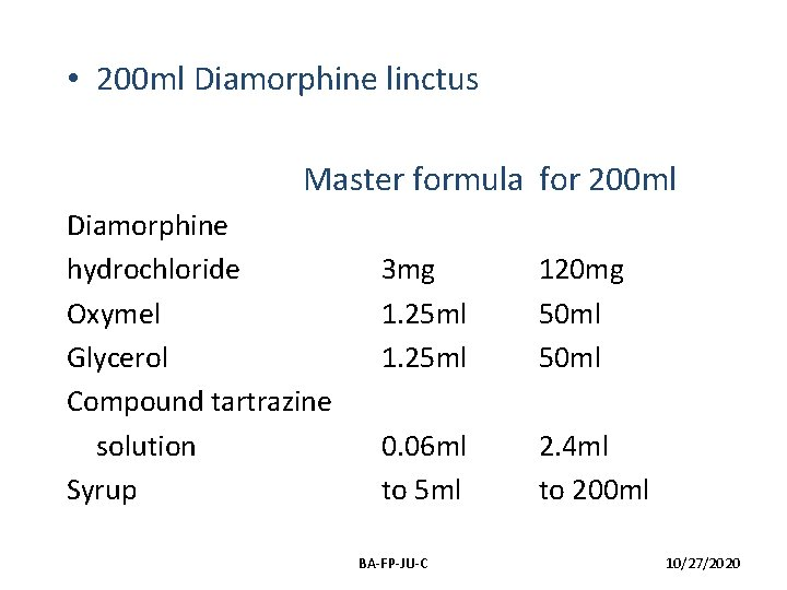 • 200 ml Diamorphine linctus Master formula for 200 ml Diamorphine hydrochloride Oxymel
