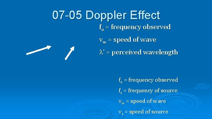 07 -05 Doppler Effect fo = frequency observed vw = speed of wave '