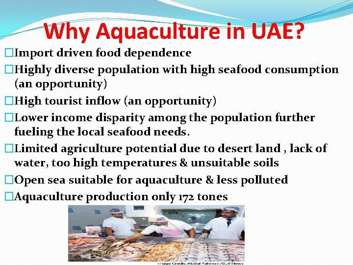 Why Aquaculture in UAE? �Import driven food dependence �Highly diverse population with high seafood