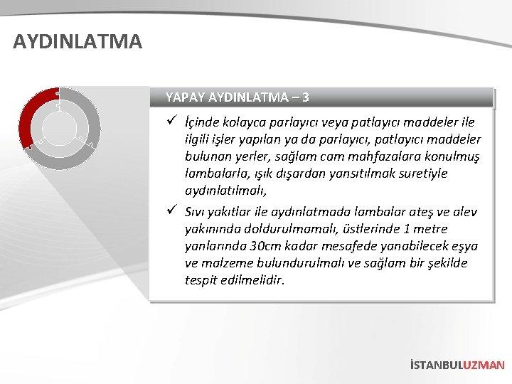 AYDINLATMA YAPAY AYDINLATMA – 3 ü İçinde kolayca parlayıcı veya patlayıcı maddeler ile ilgili
