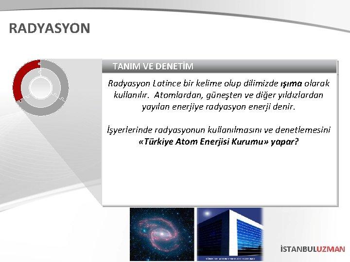 RADYASYON TANIM VE DENETİM Radyasyon Latince bir kelime olup dilimizde ışıma olarak kullanılır. Atomlardan,