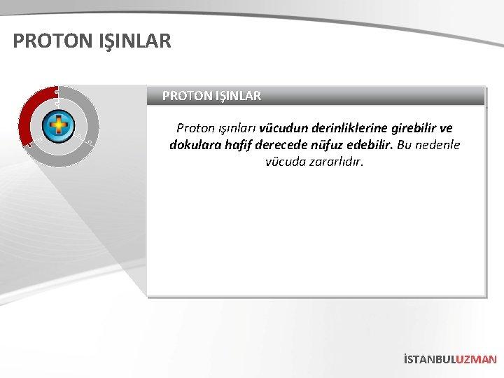 PROTON IŞINLAR Proton ışınları vücudun derinliklerine girebilir ve dokulara hafif derecede nüfuz edebilir. Bu