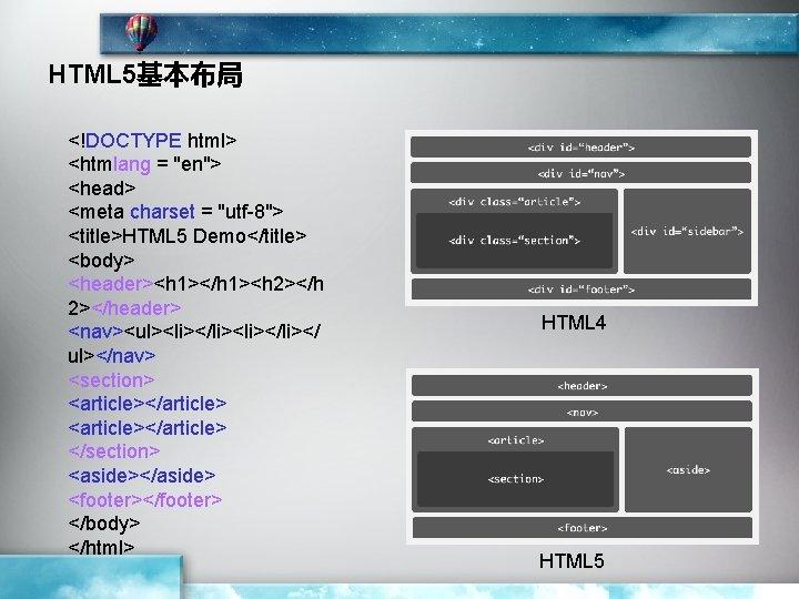 "HTML 5基本布局 <!DOCTYPE html> <htmlang = ""en""> <head> <meta charset = ""utf-8""> <title>HTML 5"