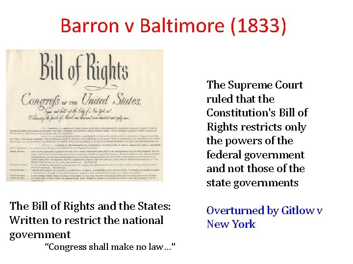 Barron v Baltimore (1833) The Supreme Court ruled that the Constitution's Bill of Rights