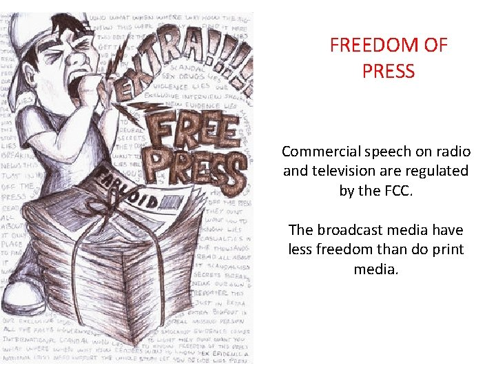 FREEDOM OF PRESS Commercial speech on radio and television are regulated by the FCC.