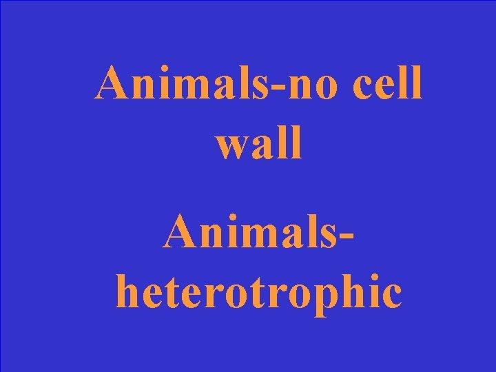 Animals-no cell wall Animalsheterotrophic