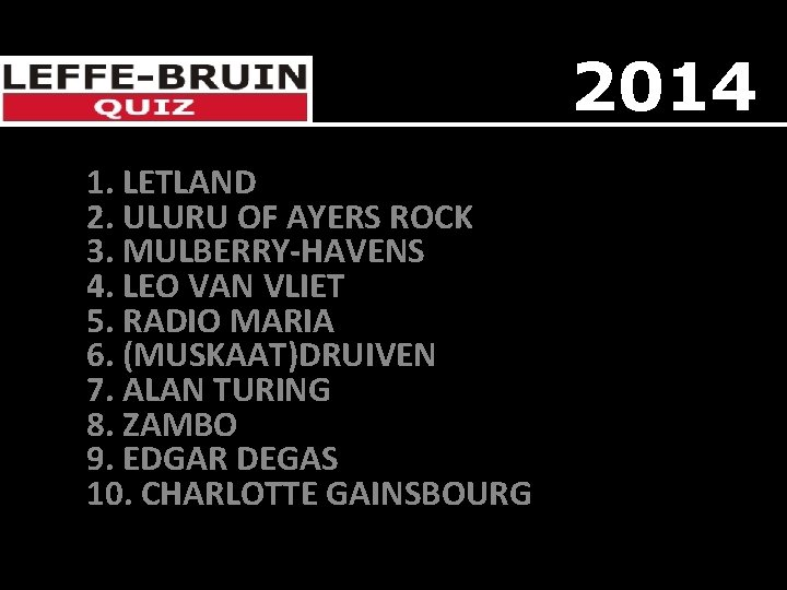 2014 1. LETLAND 2. ULURU OF AYERS ROCK 3. MULBERRY-HAVENS 4. LEO VAN VLIET
