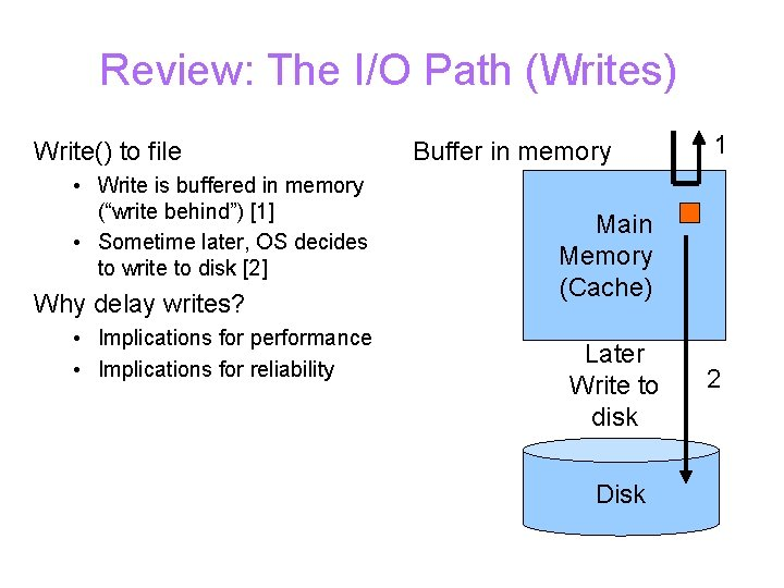 Review: The I/O Path (Writes) Write() to file • Write is buffered in memory