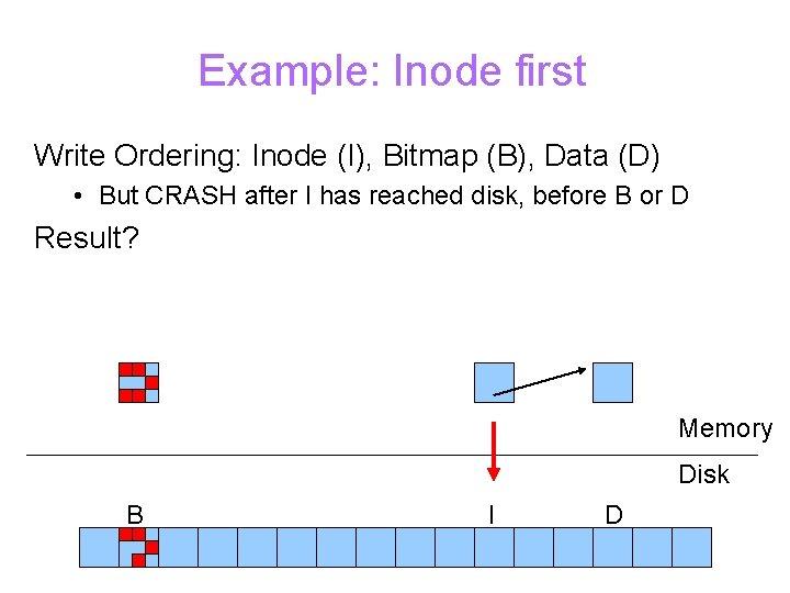 Example: Inode first Write Ordering: Inode (I), Bitmap (B), Data (D) • But CRASH