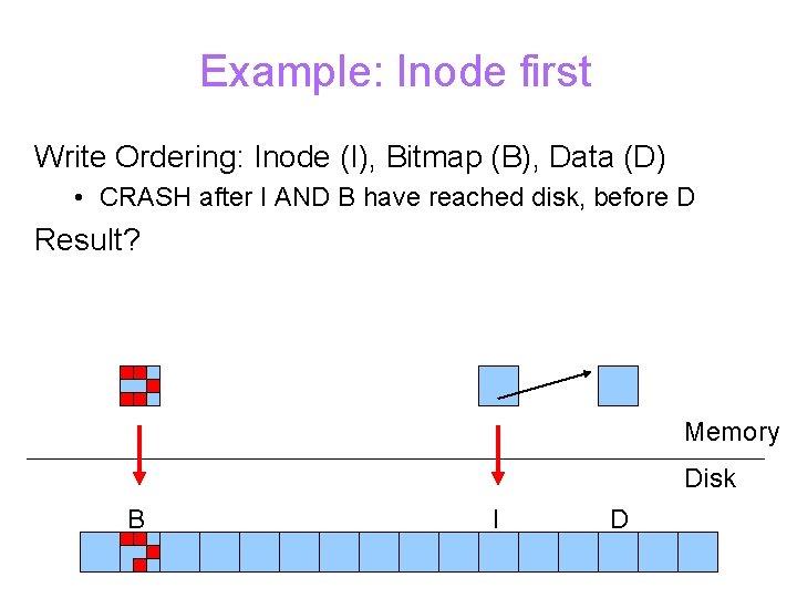 Example: Inode first Write Ordering: Inode (I), Bitmap (B), Data (D) • CRASH after