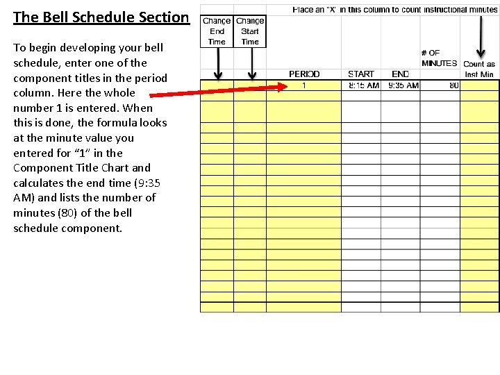 The Bell Schedule Section To begin developing your bell schedule, enter one of the